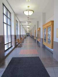 A long hall in St. Francis Hospital